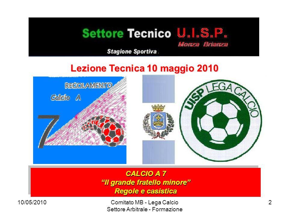10/05/2010Comitato MB - Lega Calcio Settore Arbitrale - Formazione 3 Spostamento dellArbitro Le posizioni proposte nelle illustrazioni seguenti sono di base e vengono raccomandate all ARBITRO.