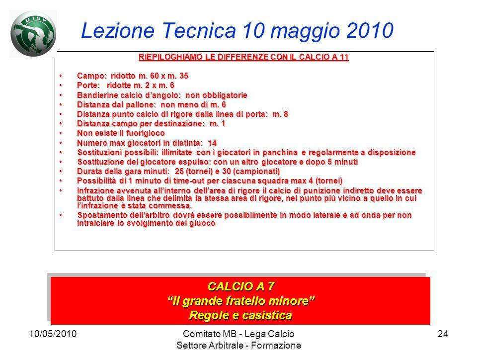 10/05/2010Comitato MB - Lega Calcio Settore Arbitrale - Formazione 24 Lezione Tecnica 10 maggio 2010 RIEPILOGHIAMO LE DIFFERENZE CON IL CALCIO A 11 Ca