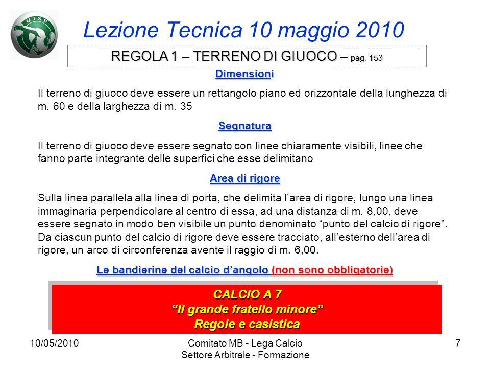 10/05/2010Comitato MB - Lega Calcio Settore Arbitrale - Formazione 7 Lezione Tecnica 10 maggio 2010 CALCIO A 7 Il grande fratello minore Regole e casi