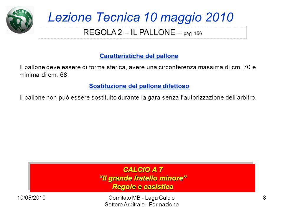 10/05/2010Comitato MB - Lega Calcio Settore Arbitrale - Formazione 8 Lezione Tecnica 10 maggio 2010 CALCIO A 7 Il grande fratello minore Regole e casi