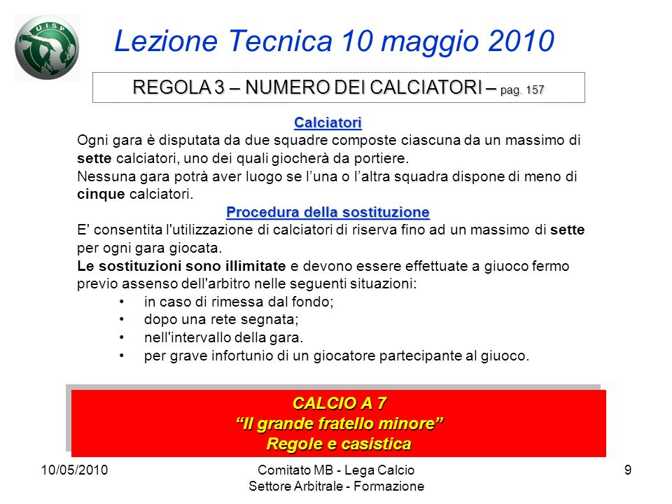 10/05/2010Comitato MB - Lega Calcio Settore Arbitrale - Formazione 9 Lezione Tecnica 10 maggio 2010 CALCIO A 7 Il grande fratello minore Regole e casi