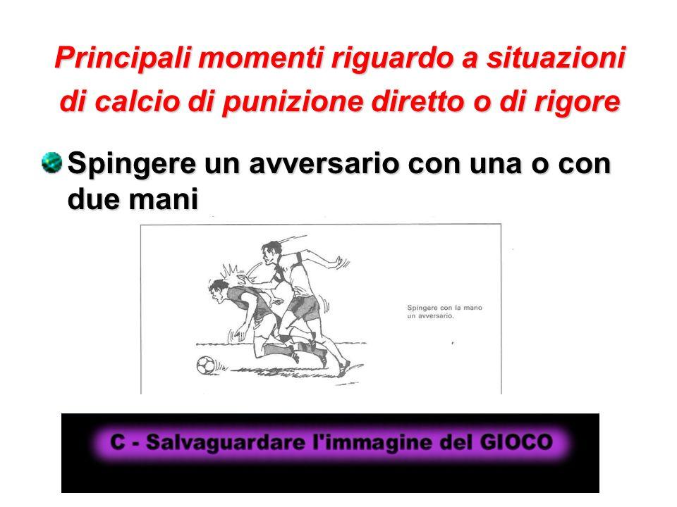 Principali momenti riguardo a situazioni di calcio di punizione diretto o di rigore Spingere un avversario con una o con due mani