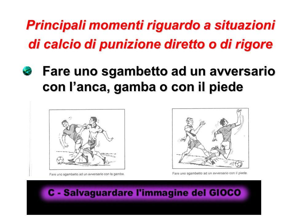 Principali momenti riguardo a situazioni di calcio di punizione diretto o di rigore Fare uno sgambetto ad un avversario con lanca, gamba o con il pied