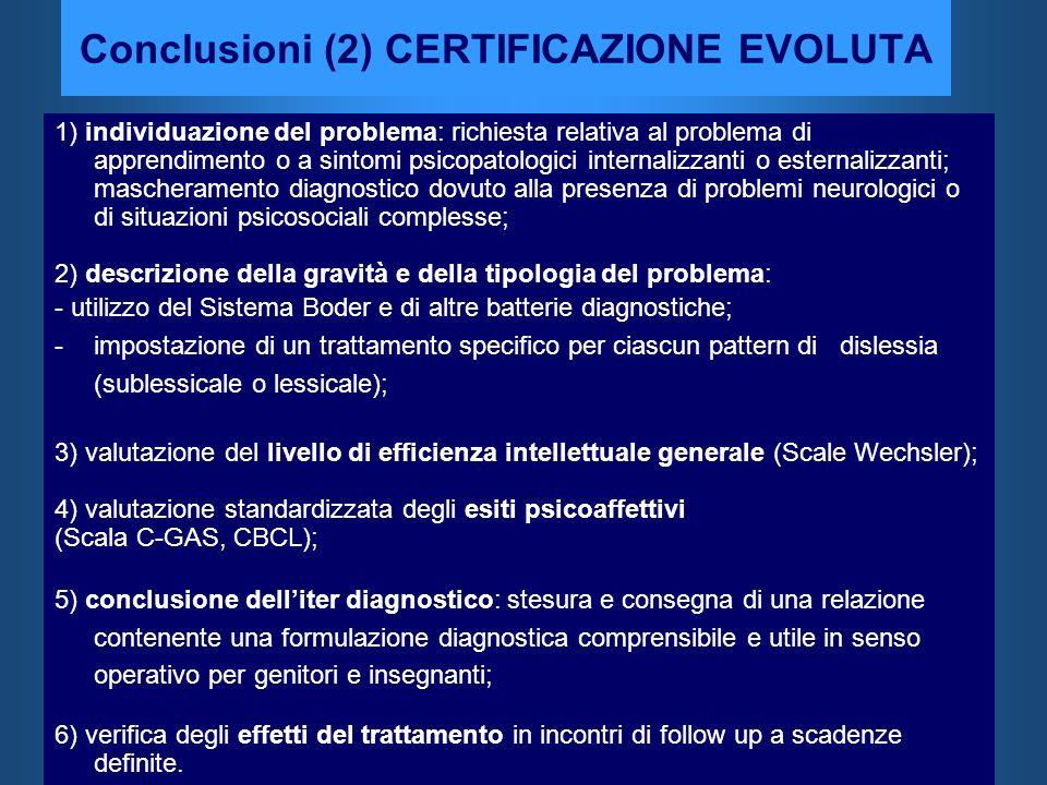 Conclusioni (2) CERTIFICAZIONE EVOLUTA 1) individuazione del problema: richiesta relativa al problema di apprendimento o a sintomi psicopatologici int