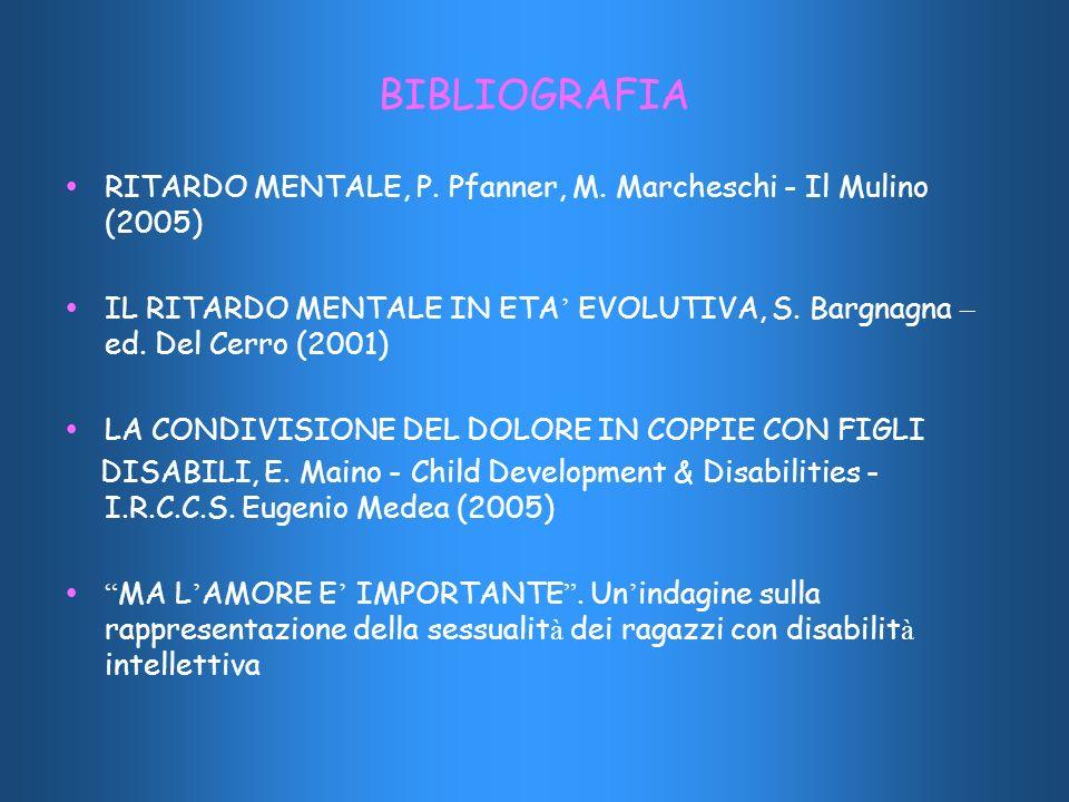 BIBLIOGRAFIA RITARDO MENTALE, P. Pfanner, M. Marcheschi - Il Mulino (2005) IL RITARDO MENTALE IN ETA EVOLUTIVA, S. Bargnagna – ed. Del Cerro (2001) LA