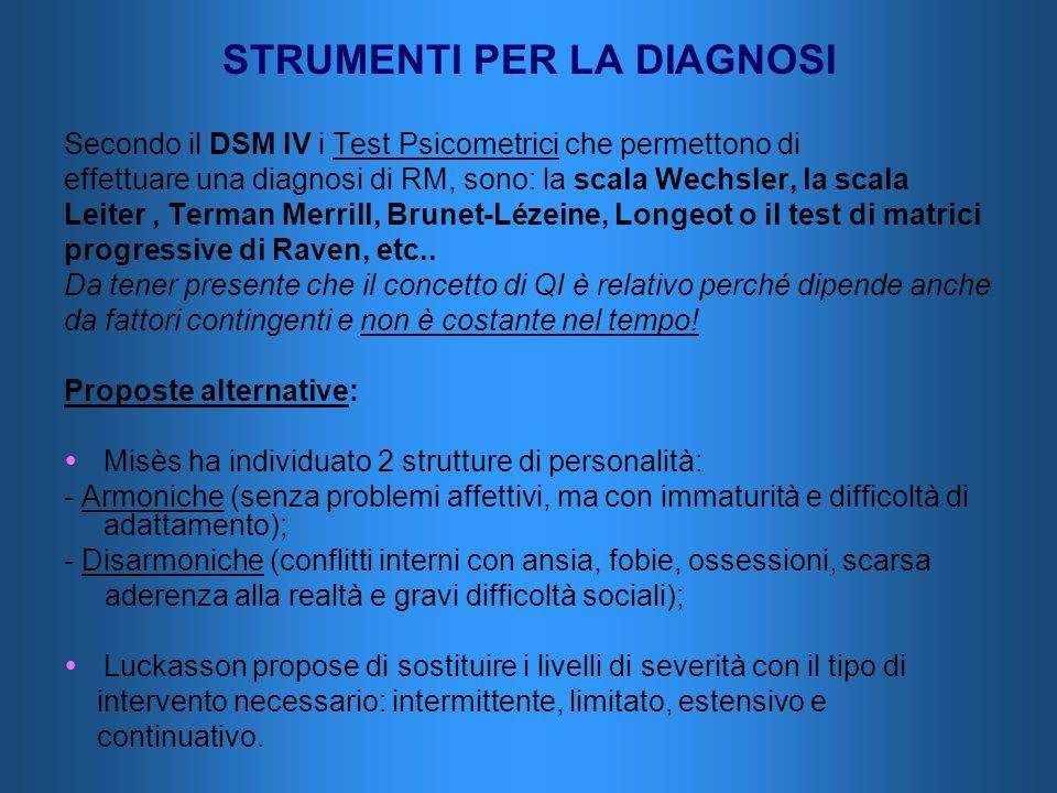 STRUMENTI PER LA DIAGNOSI Secondo il DSM IV i Test Psicometrici che permettono di effettuare una diagnosi di RM, sono: la scala Wechsler, la scala Lei