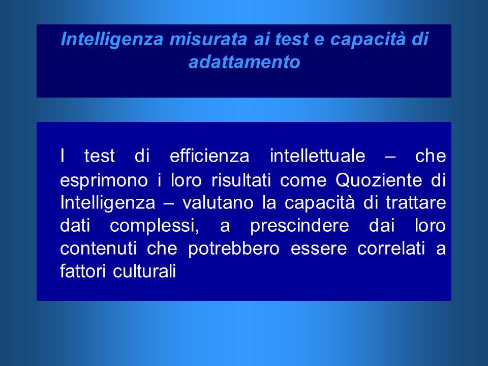 I test di efficienza intellettuale – che esprimono i loro risultati come Quoziente di Intelligenza – valutano la capacità di trattare dati complessi,