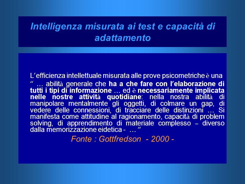 Intelligenza misurata ai test e capacità di adattamento L efficienza intellettuale misurata alle prove psicometriche è una … abilit à generale che ha