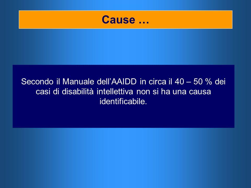 Cause … Secondo il Manuale dellAAIDD in circa il 40 – 50 % dei casi di disabilità intellettiva non si ha una causa identificabile.
