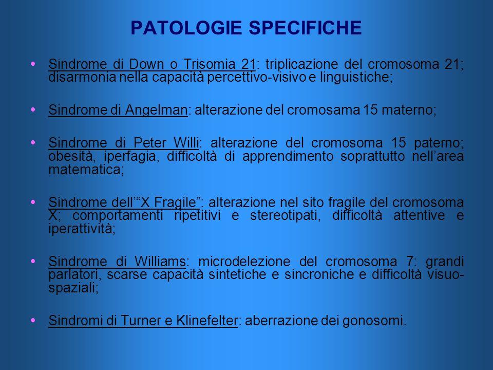 PATOLOGIE SPECIFICHE Sindrome di Down o Trisomia 21: triplicazione del cromosoma 21; disarmonia nella capacità percettivo-visivo e linguistiche; Sindr