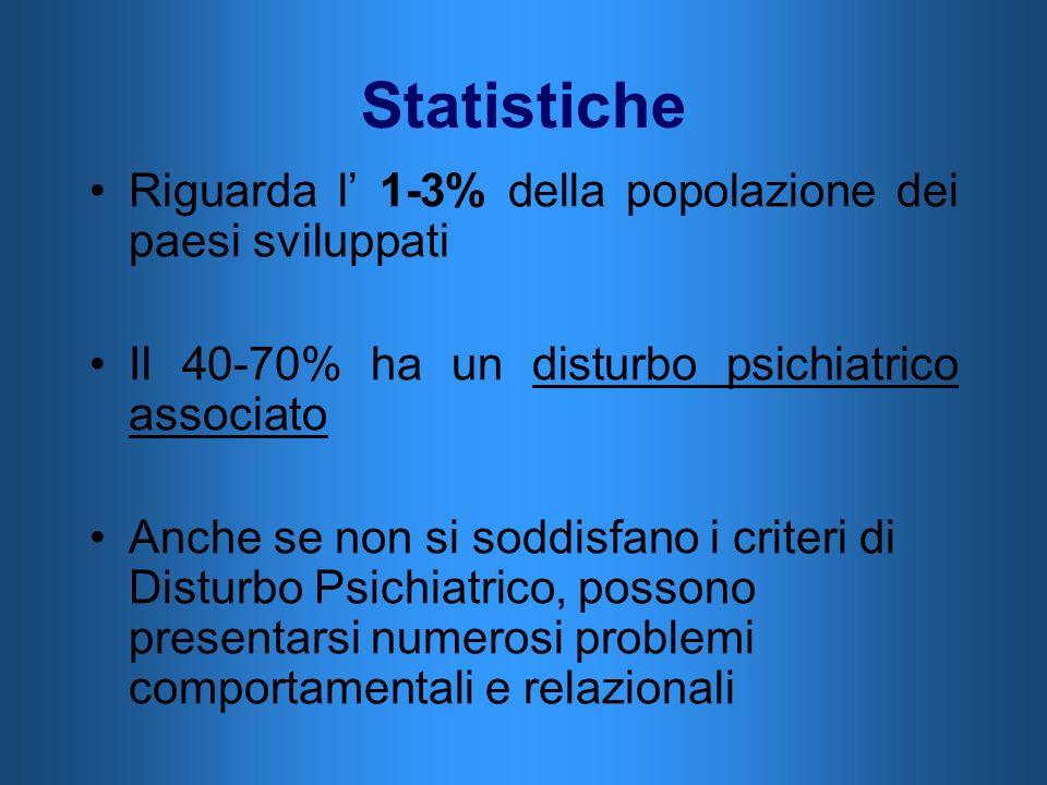Statistiche Riguarda l 1-3% della popolazione dei paesi sviluppati Il 40-70% ha un disturbo psichiatrico associato Anche se non si soddisfano i criter