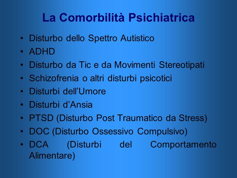 La Comorbilità Psichiatrica Disturbo dello Spettro Autistico ADHD Disturbo da Tic e da Movimenti Stereotipati Schizofrenia o altri disturbi psicotici