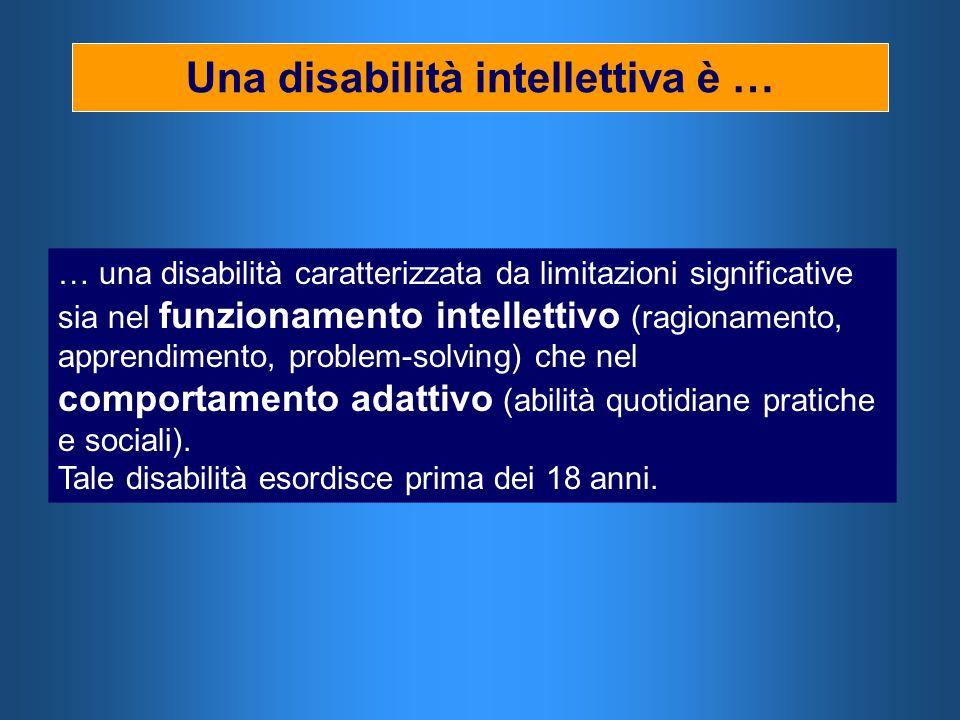 Una disabilità intellettiva è … … una disabilità caratterizzata da limitazioni significative sia nel funzionamento intellettivo (ragionamento, apprend