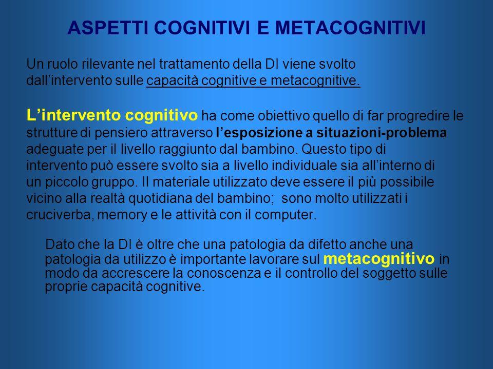 ASPETTI COGNITIVI E METACOGNITIVI Un ruolo rilevante nel trattamento della DI viene svolto dallintervento sulle capacità cognitive e metacognitive. Li