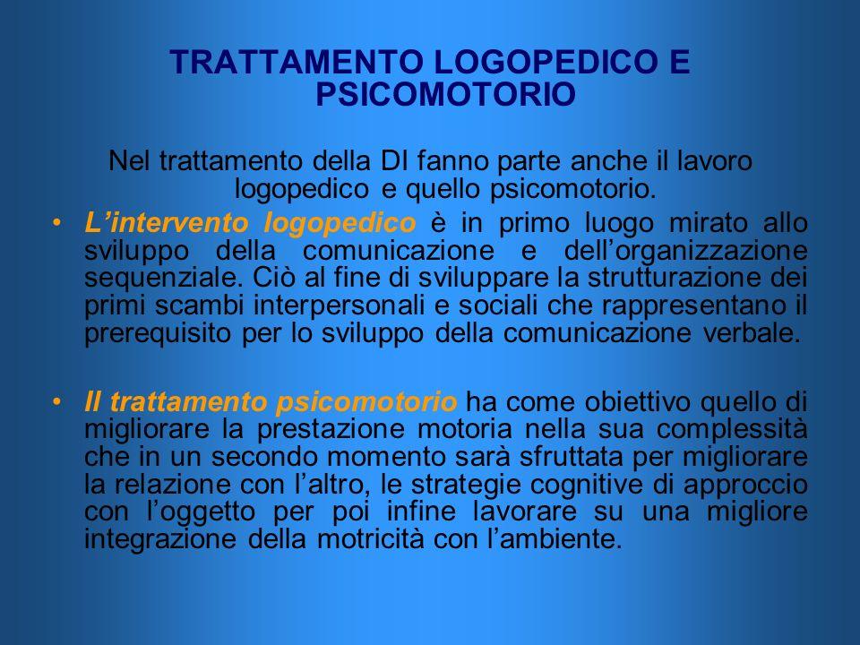 TRATTAMENTO LOGOPEDICO E PSICOMOTORIO Nel trattamento della DI fanno parte anche il lavoro logopedico e quello psicomotorio. Lintervento logopedico è