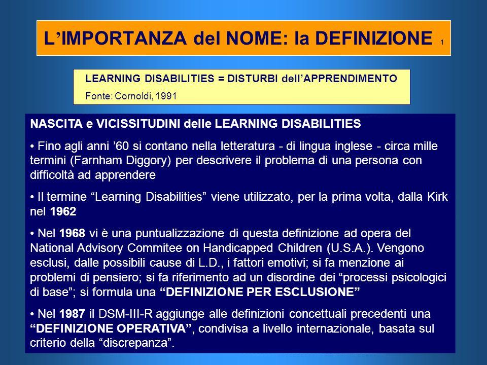 L IMPORTANZA del NOME: la DEFINIZIONE 1 LEARNING DISABILITIES = DISTURBI dellAPPRENDIMENTO Fonte: Cornoldi, 1991 NASCITA e VICISSITUDINI delle LEARNIN
