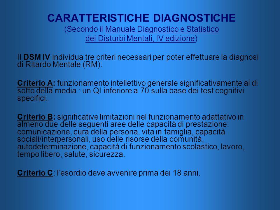 CARATTERISTICHE DIAGNOSTICHE (Secondo il Manuale Diagnostico e Statistico dei Disturbi Mentali, IV edizione) Il DSM IV individua tre criteri necessari