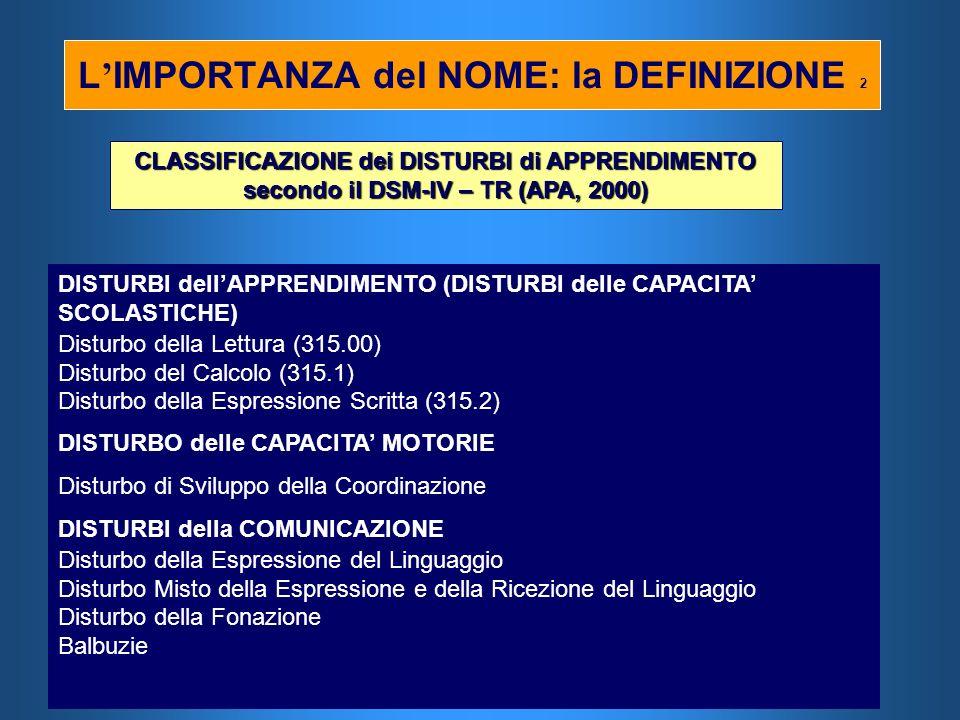 L IMPORTANZA del NOME: la DEFINIZIONE 2 CLASSIFICAZIONE dei DISTURBI di APPRENDIMENTO secondo il DSM-IV – TR (APA, 2000) DISTURBI dellAPPRENDIMENTO (D