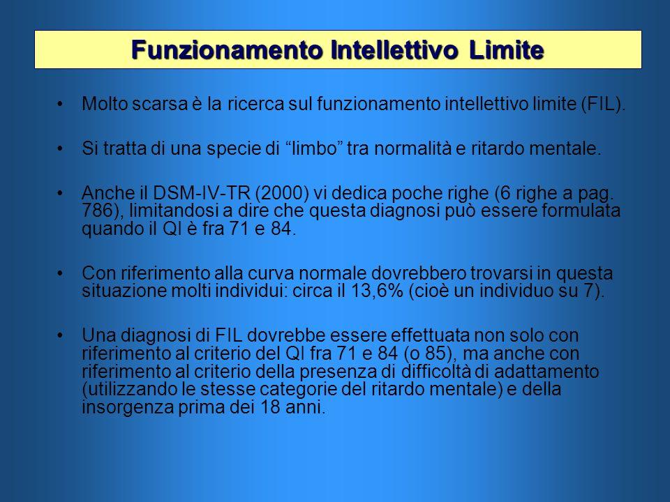 Molto scarsa è la ricerca sul funzionamento intellettivo limite (FIL). Si tratta di una specie di limbo tra normalità e ritardo mentale. Anche il DSM-