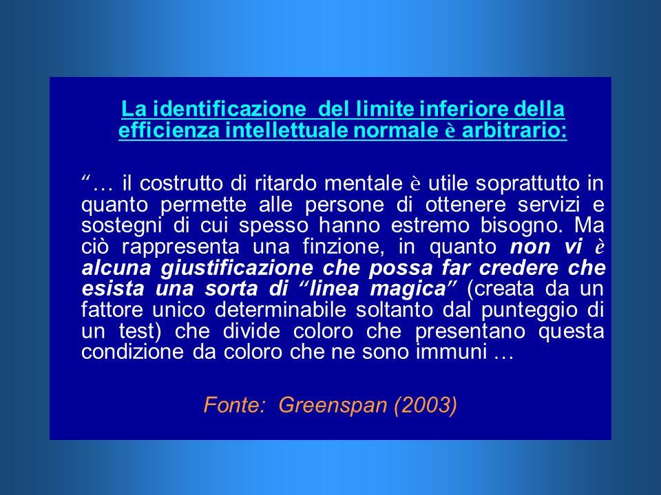 La identificazione del limite inferiore della efficienza intellettuale normale è arbitrario: … il costrutto di ritardo mentale è utile soprattutto in