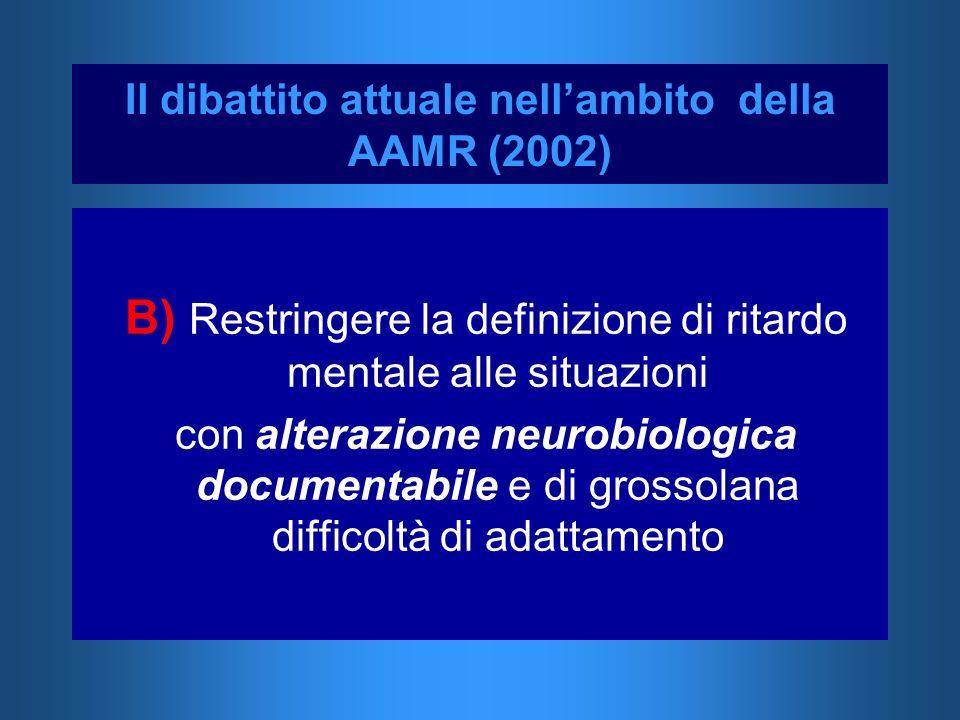 Il dibattito attuale nellambito della AAMR (2002) B) Restringere la definizione di ritardo mentale alle situazioni con alterazione neurobiologica docu