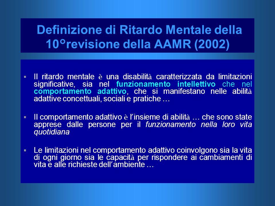 Definizione di Ritardo Mentale della 10°revisione della AAMR (2002) Il ritardo mentale è una disabilit à caratterizzata da limitazioni significative,