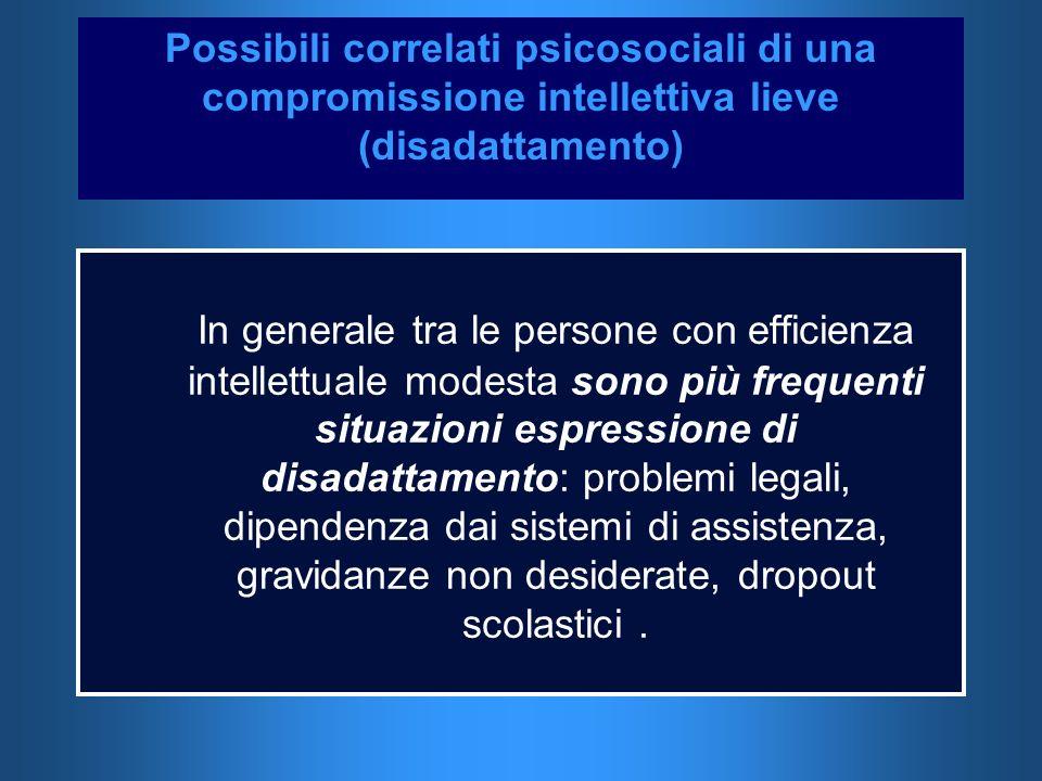 Possibili correlati psicosociali di una compromissione intellettiva lieve (disadattamento) In generale tra le persone con efficienza intellettuale mod