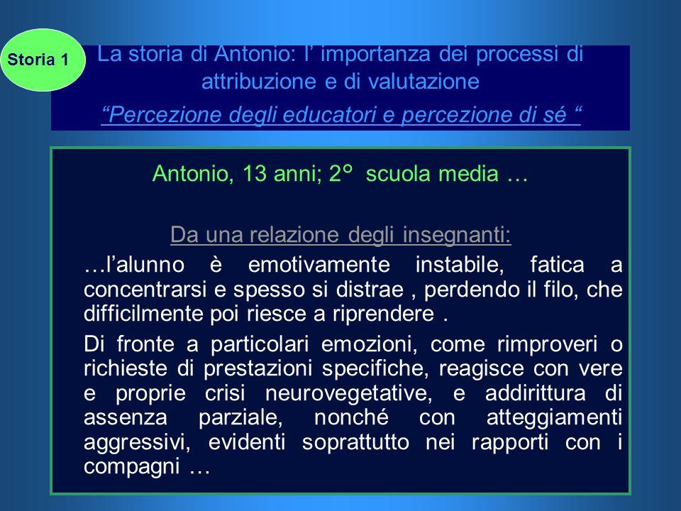 La storia di Antonio: l importanza dei processi di attribuzione e di valutazione Percezione degli educatori e percezione di sé Antonio, 13 anni; 2° sc