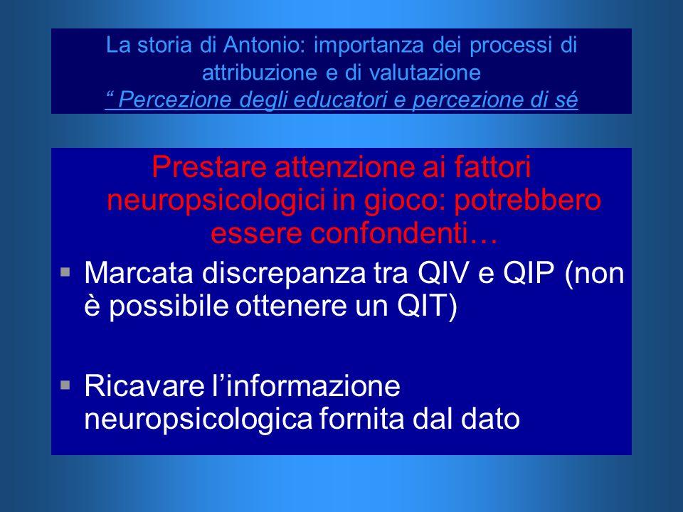 Prestare attenzione ai fattori neuropsicologici in gioco: potrebbero essere confondenti… Marcata discrepanza tra QIV e QIP (non è possibile ottenere u