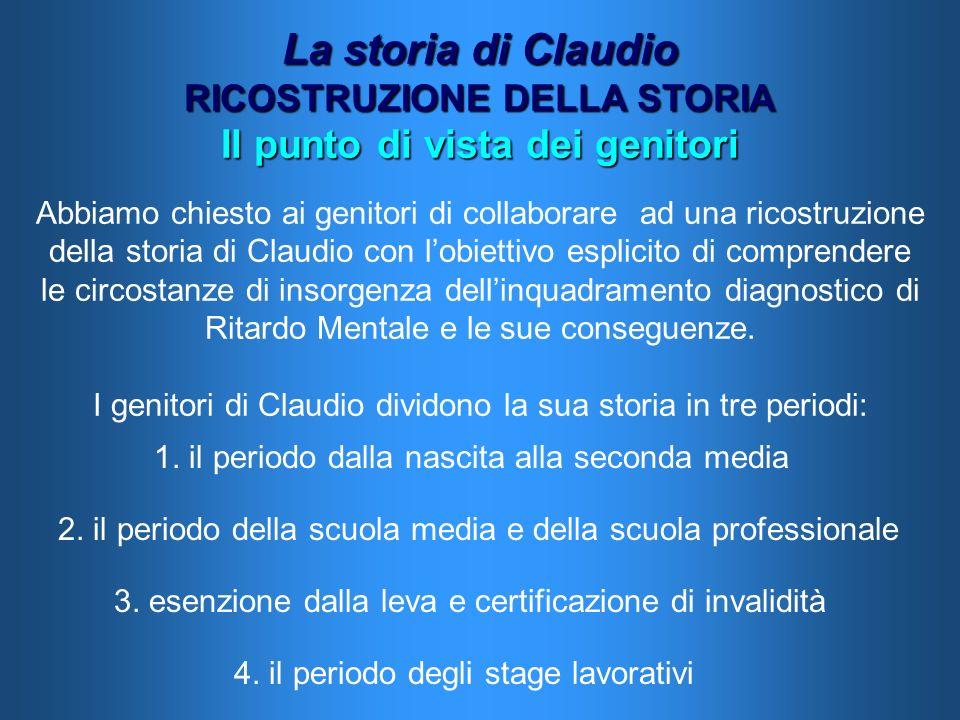 La storia di Claudio RICOSTRUZIONE DELLA STORIA Il punto di vista dei genitori Abbiamo chiesto ai genitori di collaborare ad una ricostruzione della s