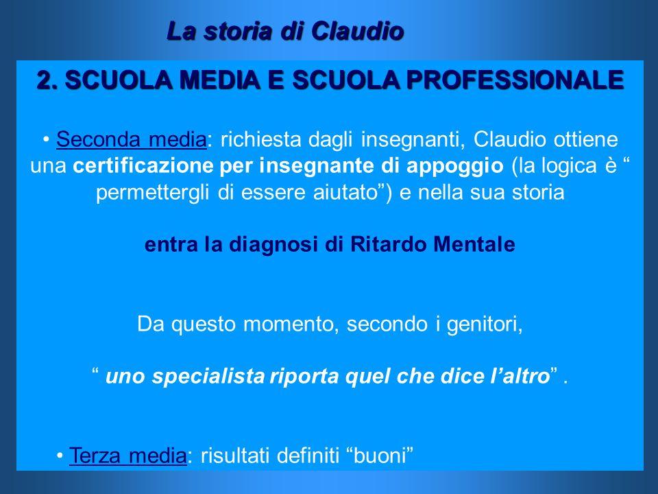 2. SCUOLA MEDIA E SCUOLA PROFESSIONALE Seconda media: richiesta dagli insegnanti, Claudio ottiene una certificazione per insegnante di appoggio (la lo