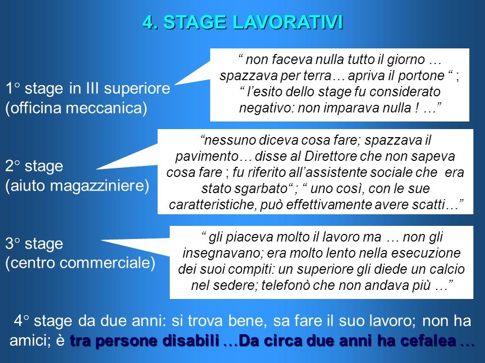 4. STAGE LAVORATIVI 1° stage in III superiore (officina meccanica) 2° stage (aiuto magazziniere) 3° stage (centro commerciale) tra persone disabili …D