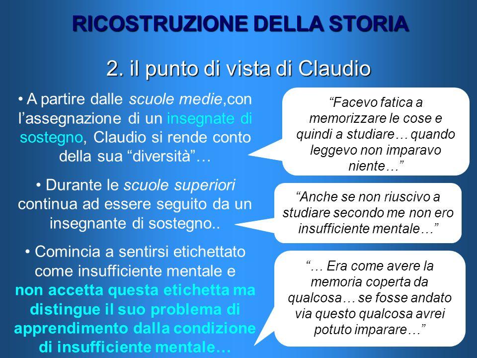 RICOSTRUZIONE DELLA STORIA 2. il punto di vista di Claudio A partire dalle scuole medie,con lassegnazione di un insegnate di sostegno, Claudio si rend