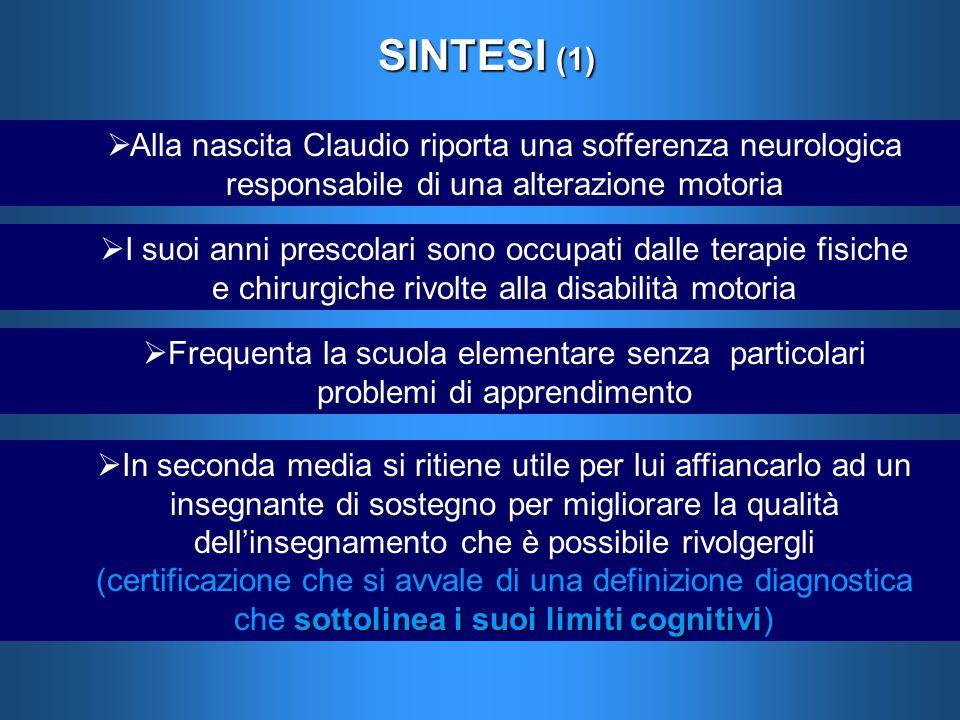 SINTESI (1) Alla nascita Claudio riporta una sofferenza neurologica responsabile di una alterazione motoria I suoi anni prescolari sono occupati dalle