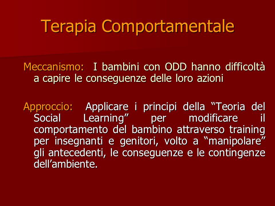 Cosa funziona nellODD? Terapia Comportamentale Terapia Comportamentale Tecniche di Problem-solving Tecniche di Problem-solving