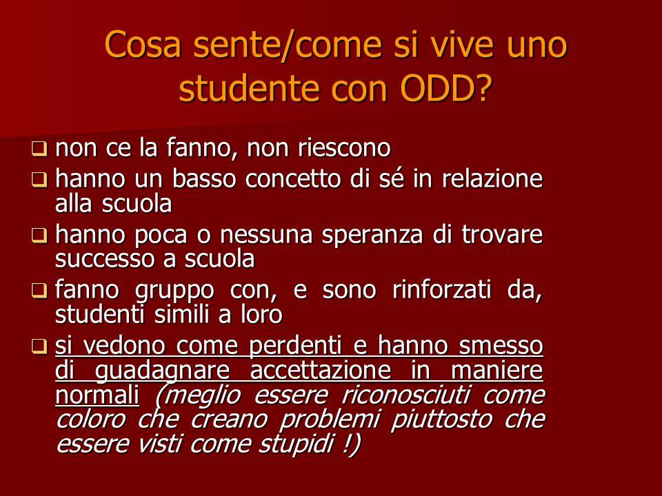 Cosa pensa uno studente con ODD? (Frank et al. ) Nessuno ha il diritto di dirmi ciò che devo fare. Nessuno ha il diritto di dirmi ciò che devo fare. S