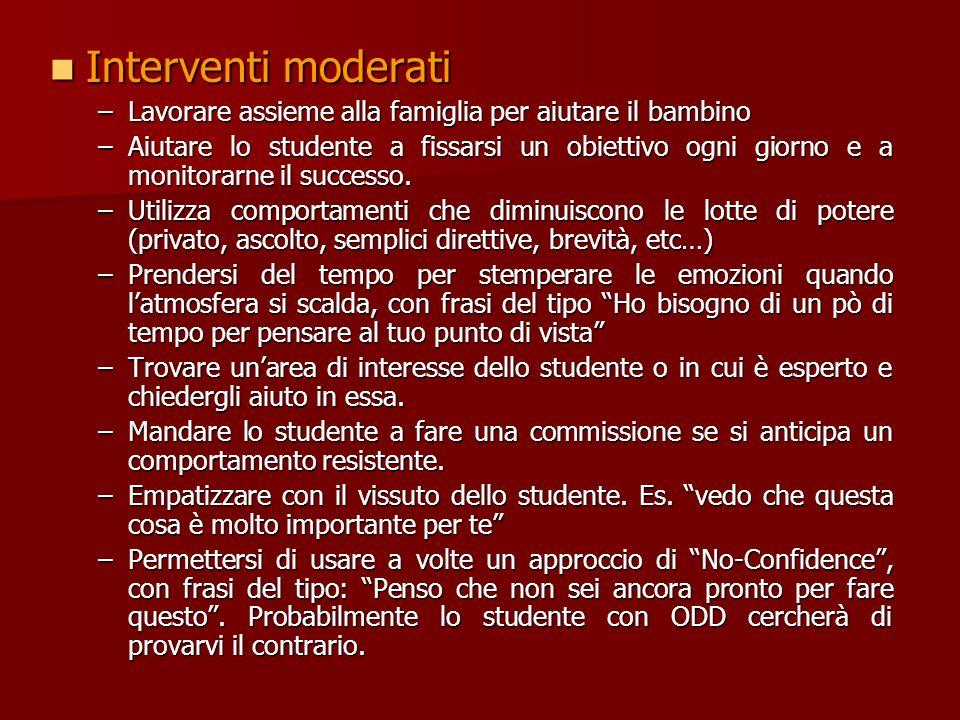 Suggerimenti per gli insegnanti (Barkley and Benton 1998) (Wenning 1999) Tenere a mente le battaglie che uno studente con ODD porta avanti ogni giorno