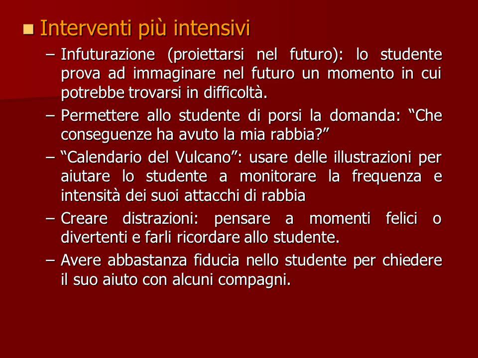 Interventi moderati Interventi moderati –Lavorare assieme alla famiglia per aiutare il bambino –Aiutare lo studente a fissarsi un obiettivo ogni giorn