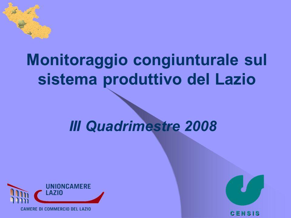 C E N S I S Monitoraggio congiunturale sul sistema produttivo del Lazio III Quadrimestre 2008