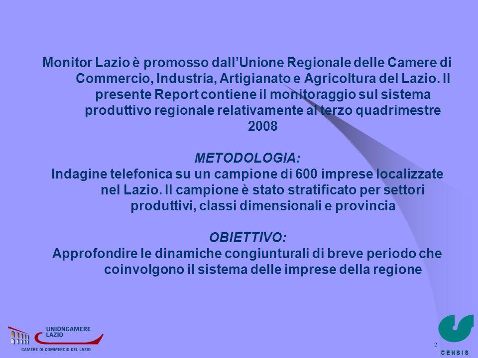 C E N S I S 2 Monitor Lazio è promosso dallUnione Regionale delle Camere di Commercio, Industria, Artigianato e Agricoltura del Lazio. Il presente Rep