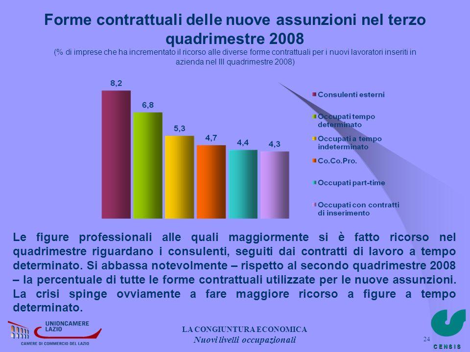 C E N S I S 24 Forme contrattuali delle nuove assunzioni nel terzo quadrimestre 2008 (% di imprese che ha incrementato il ricorso alle diverse forme c