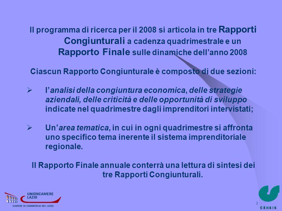 C E N S I S 3 Il programma di ricerca per il 2008 si articola in tre Rapporti Congiunturali a cadenza quadrimestrale e un Rapporto Finale sulle dinami