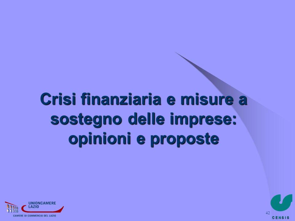 C E N S I S 42 Crisi finanziaria e misure a sostegno delle imprese: opinioni e proposte