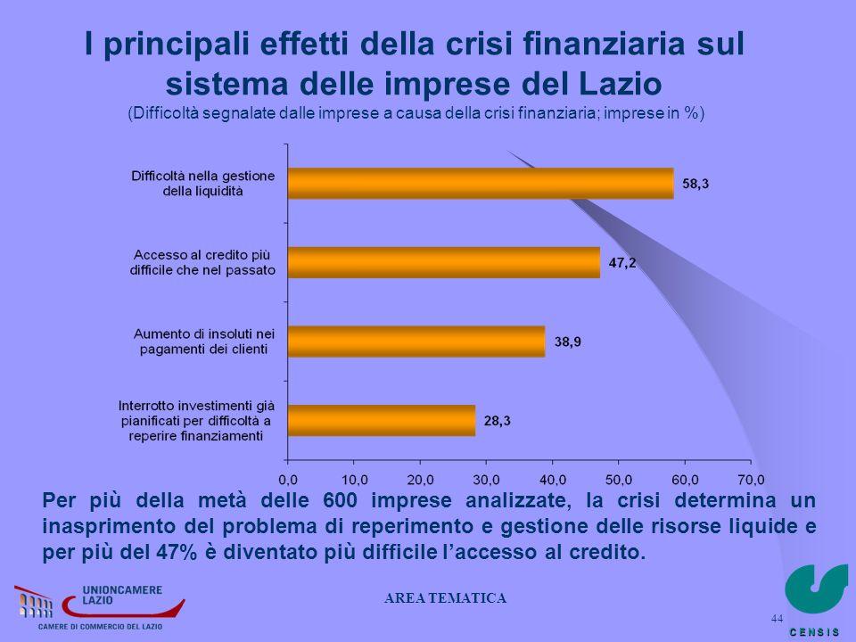 C E N S I S 44 I principali effetti della crisi finanziaria sul sistema delle imprese del Lazio (Difficoltà segnalate dalle imprese a causa della cris