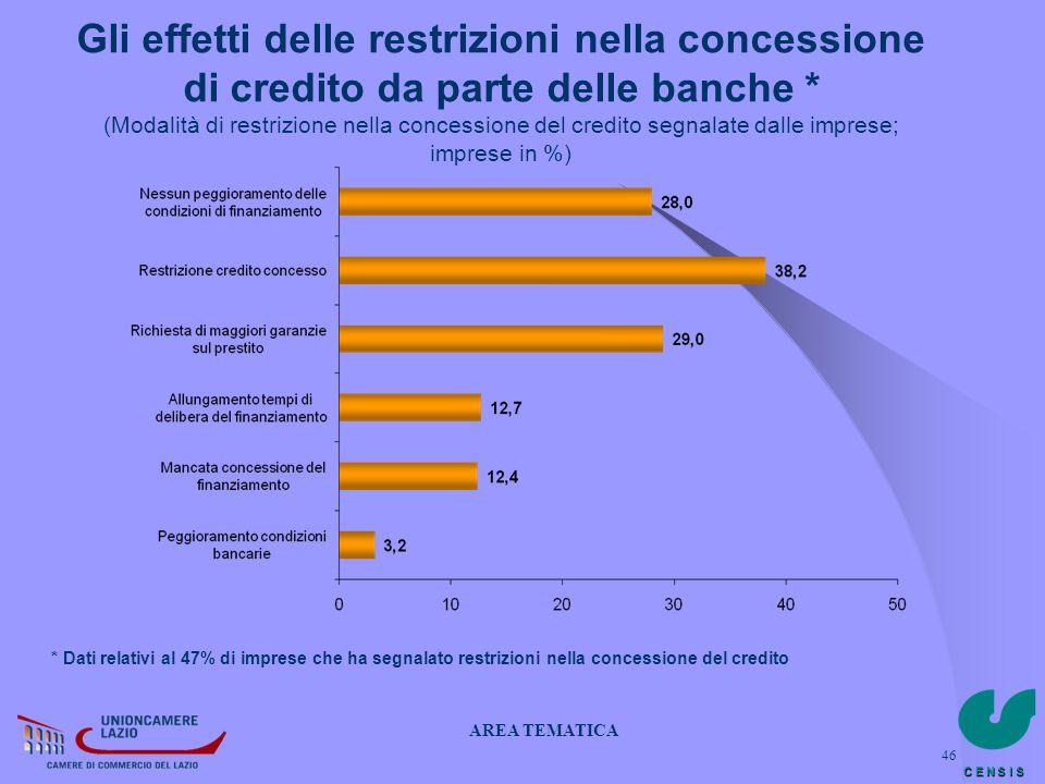 C E N S I S 46 Gli effetti delle restrizioni nella concessione di credito da parte delle banche * (Modalità di restrizione nella concessione del credi