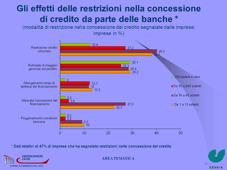 C E N S I S 47 Gli effetti delle restrizioni nella concessione di credito da parte delle banche * (modalità di restrizione nella concessione del credi