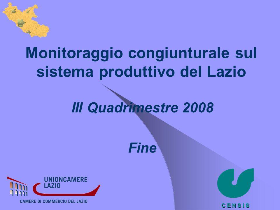 C E N S I S Monitoraggio congiunturale sul sistema produttivo del Lazio III Quadrimestre 2008 Fine
