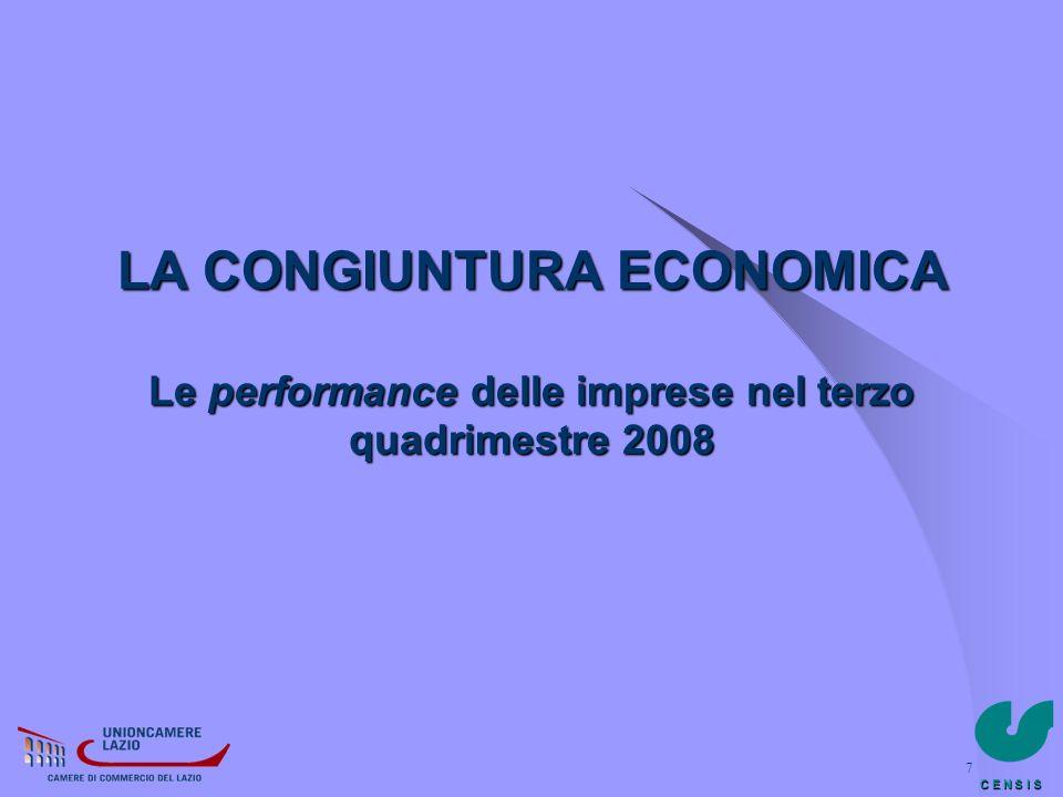 C E N S I S 8 Terzo Quadrimestre 2008 LA CONGIUNTURA Nel terzo quadrimestre del 2008 il sistema produttivo del Lazio ha pienamente risentito della fase congiunturale negativa vissuta dal Paese ed acuitasi a partire dai mesi di settembre e ottobre.