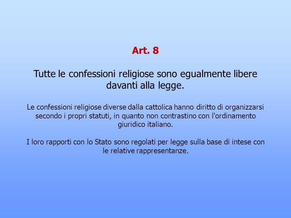 Art. 7 Lo Stato e la Chiesa cattolica sono, ciascuno nel proprio ordine, indipendenti e sovrani. I loro rapporti sono regolati dai Patti Lateranensi.