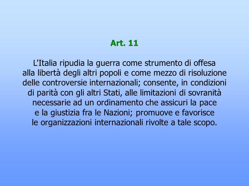 Art. 10 L'ordinamento giuridico italiano si conforma alle norme del diritto internazionale generalmente riconosciute. La condizione giuridica dello st